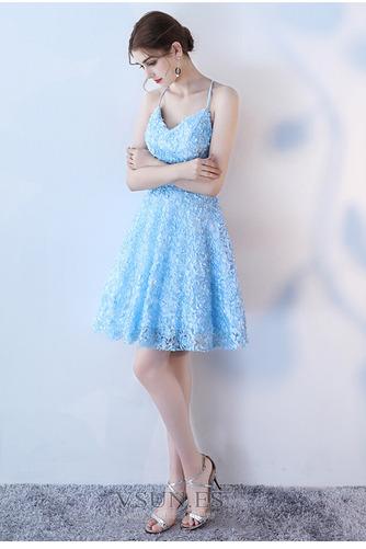 Vestido de cóctel Corte-A Apliques Glamouroso Encaje Escote de Tirantes Espaguetis - Página 1