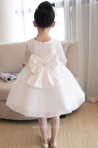 Vestido niña ceremonia Natural Apliques Falta Corte-A Satén La mitad de manga - Página 2