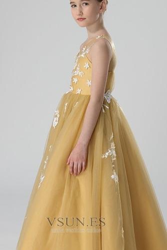 Vestido niña ceremonia tul Joya primavera Sin mangas Capa de encaje Corte-A - Página 3