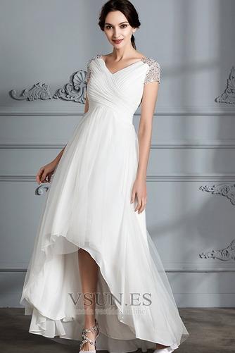 Vestido de novia Verano Manga corta Falta Asimétrico Dobladillo Plisado - Página 4
