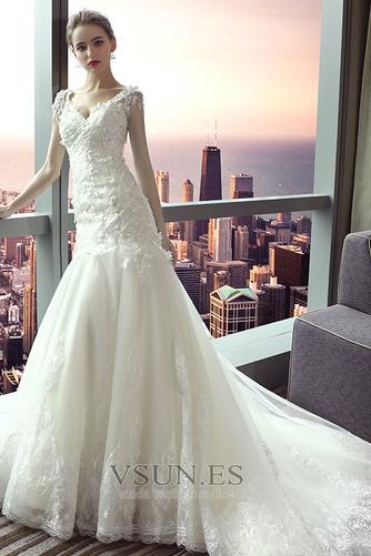 Vestido de novia Escote en V Sala Manga corta largo Cordón Encaje - Página 4