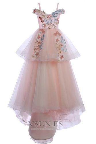 Vestido niña ceremonia Formal Corte-A Verano Natural Sin mangas Apliques - Página 5