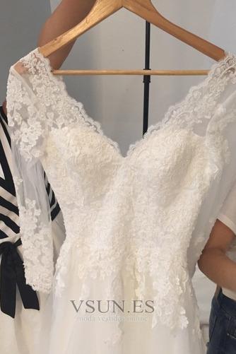 Vestido de novia Cremallera Mangas Illusion Elegante tul Apliques Corte-A - Página 5