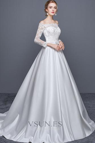 Vestido de novia Escote con Hombros caídos Cremallera Corte-A Iglesia - Página 1