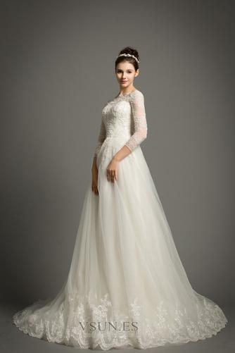 Vestido de novia Elegante Encaje Abalorio Pera Cremallera Corte-A - Página 3