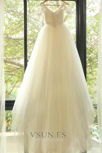 Vestido de novia Elegante Escote con Hombros caídos tul Apliques Hasta el suelo - Página 5