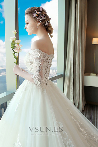 Vestido de novia Natural Sala Encaje Cordón primavera Mangas Illusion - Página 4
