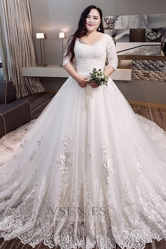 Vestido de novia Encaje Natural Camiseta Capa de encaje Cordón Cola Real - Página 1