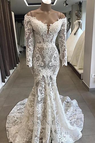 Vestido de novia Fuera de casa Cremallera Capa de encaje Cola Capilla - Página 1