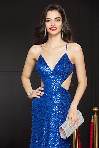 Vestido de fiesta Corte Recto Colores Con lentejuelas largo Estrellado - Página 3