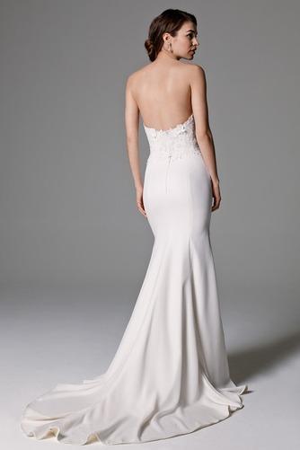 Vestido de novia largo Encaje Corte Recto Escote Corazón Abalorio Natural - Página 2