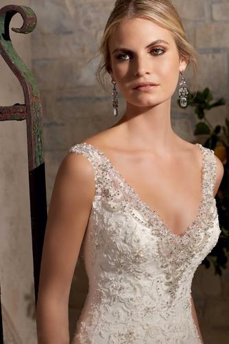 Vestido de novia Sala Otoño Corte Sirena Sin mangas Pura espalda Natural - Página 3