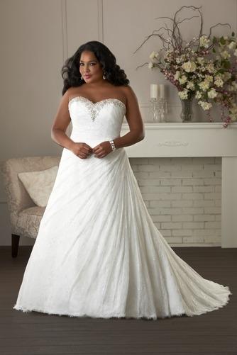 Vestido de novia Formal largo Escote Corazón Abalorio Natural Cordón - Página 1