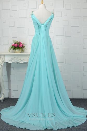 Vestido de noche Cordón Corte-A Plisado Formal Escote en V Blusa plisada - Página 2