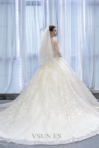 Vestido de novia Iglesia Drapeado Natural Cola Corte Corte-A Barco - Página 3