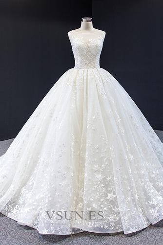 Vestido de novia Iglesia Drapeado Natural Cola Corte Corte-A Barco - Página 4