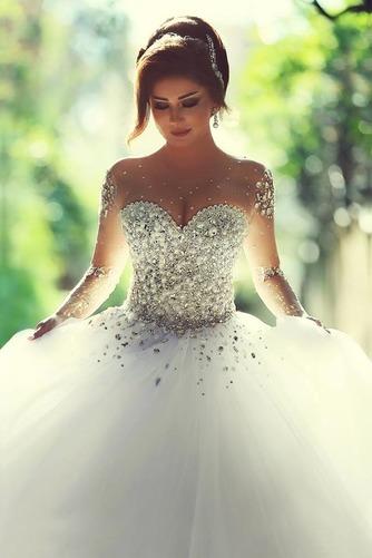 Vestido de novia Estrellado Corpiño Acentuado con Perla Sala Manga larga - Página 1