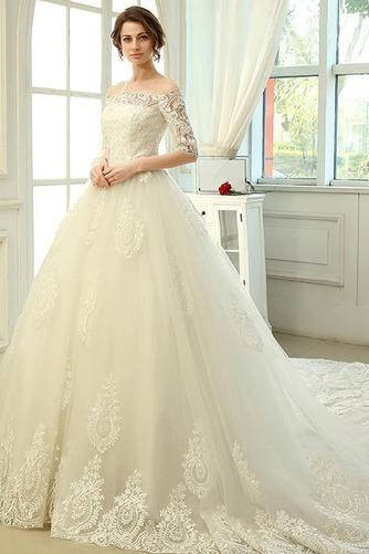 Vestido de novia Clasicos Mangas Illusion Otoño Cordón Recatada Corte princesa - Página 1