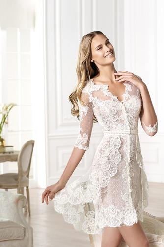 Vestido de novia Encaje Escote en V Natural Asimètrico tul Corto - Página 3