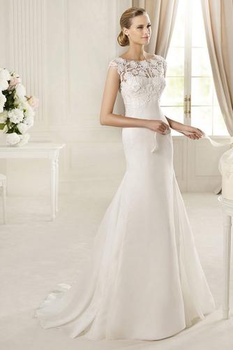 Vestido de novia Corte Sirena largo Barco Apliques Alto cubierto Satén - Página 1