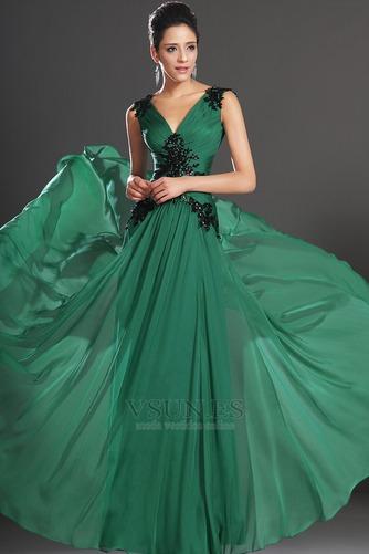 Vestidos de noche verde esmeralda Sin mangas Hasta el suelo Baja Escote en V - Página 3