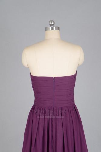 Vestido de dama de honor Verano Sin mangas Gasa Pera Sencillo ciruela persa - Página 5