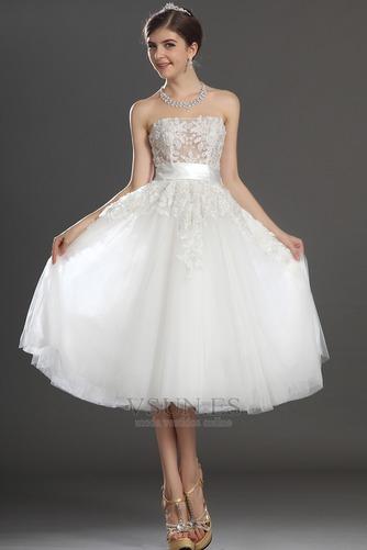 Vestido de novia Romántico tul Blanco Hinchado Abalorio Natural - Página 1