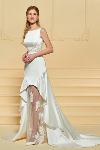 Vestido de novia Satén Plisado Triángulo Invertido Pura espalda Asimètrico - Página 2