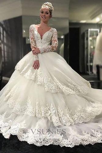 Vestido de novia Manga larga Corte-A Playa vendimia Abalorio Satén - Página 1
