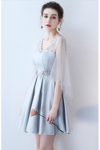 Vestido de dama de honor Cordón primavera Satén Un sólo hombro Sin mangas Bordado - Página 7