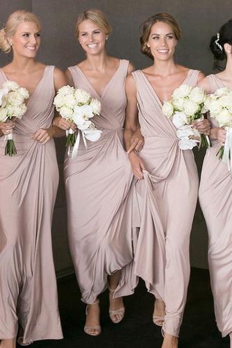 Vestido de dama de honor Sin mangas Dobladillos Elegante Falta Escote en V Cremallera - Página 1