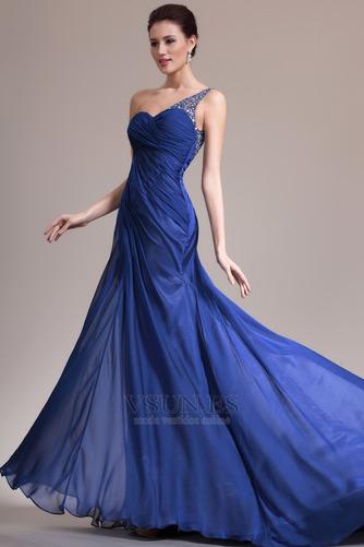 Vestido de noche Sin mangas Elegante azul medianoche Pura espalda Un sólo hombro - Página 5