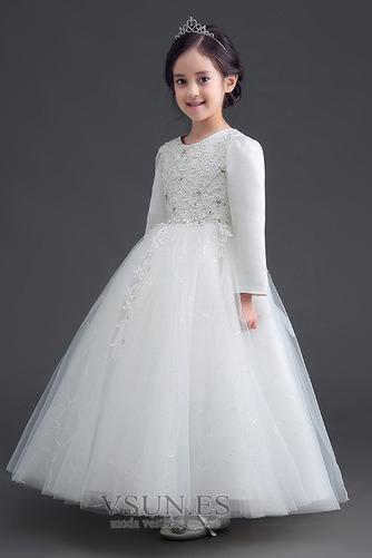 Vestido niña ceremonia Cremallera Joya Satén Arco Acentuado Bordado Formal - Página 2