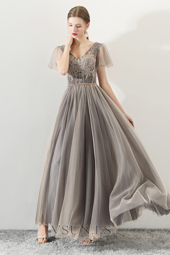 Vestido de fiesta Elegante Corte-A Natural Cordón tul Reloj de Arena - Página 4
