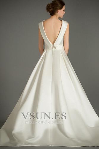 Vestido de novia Sin mangas Lazos Otoño Corte-A Natural Iglesia - Página 5