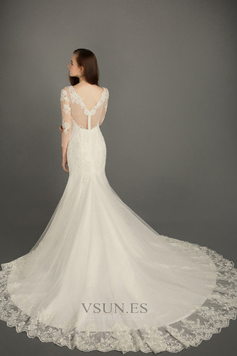 Vestido de novia Iglesia Corte-A Otoño Cremallera largo tul - Página 2