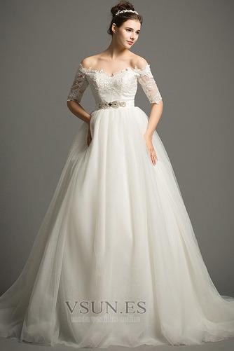 Vestido de novia Elegante Escote con Hombros caídos tul Apliques Hasta el suelo - Página 1
