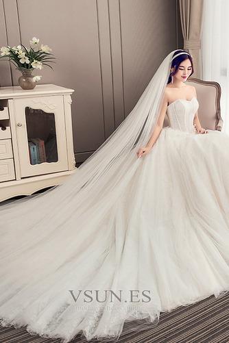 Vestido de novia Elegante Sin mangas Cola Corte Satén Corte-A Apliques - Página 4