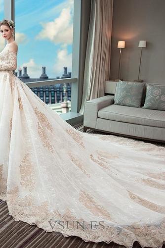 Vestido de novia Abalorio Tallas pequeñas Natural Escote con Hombros caídos - Página 4