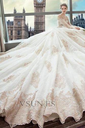 Vestido de novia Abalorio Tallas pequeñas Natural Escote con Hombros caídos - Página 3