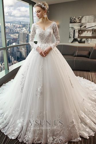 Vestido de novia Capa de encaje Baja escote en V Apliques Formal Corte-A - Página 4