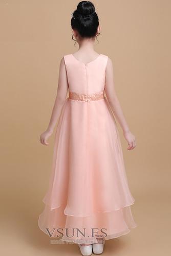 Vestido niña ceremonia Elegante Satén Cinturón de cuentas Escalonado Sin mangas - Página 2