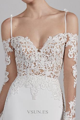Vestido de novia Sencillo Encaje Espalda Descubierta Capa de encaje - Página 3
