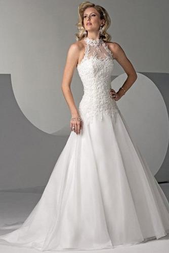 Vestido de novia Sin cintura Cordón Abalorio largo Corte-A Clasicos - Página 1