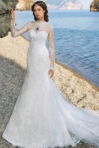 Vestido de novia Encaje Otoño Corte Sirena Escote con cuello Alto Encaje - Página 1