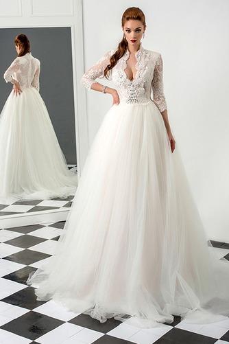 Vestido de novia largo Cristal Otoño Natural Encaje Escote con cuello Alto - Página 1