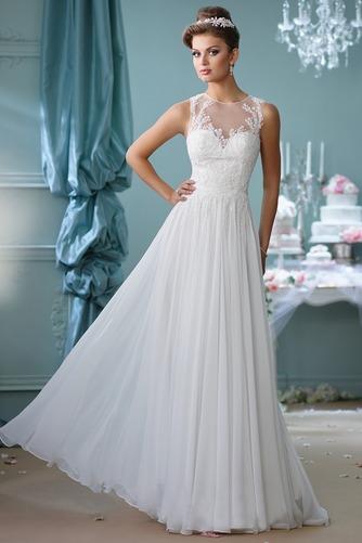 Vestido de novia Apliques Natural Cola Barriba Joya Corte-A Cremallera - Página 1