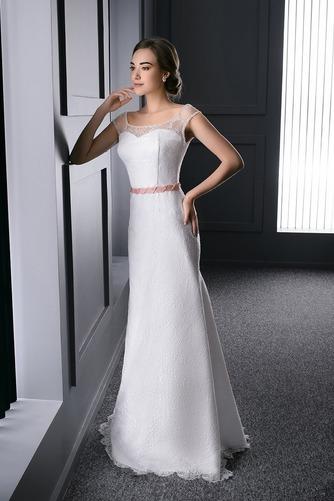 Vestido de novia Barco Fajas Natural Cordón Sin mangas Cola Barriba - Página 1