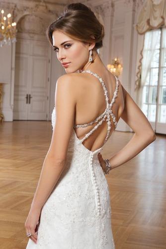 Vestido de novia Escote de Tirantes Espaguetis Abalorio Natural Elegante - Página 4