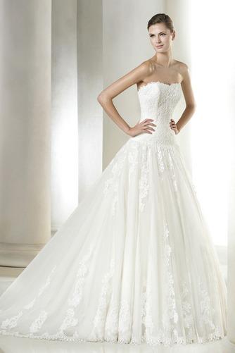 Vestido de novia Otoño Apliques Corte-A Cola Capilla Cremallera Con velo - Página 1